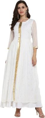 Ahalyaa Women Self Design A-line Kurta(White)