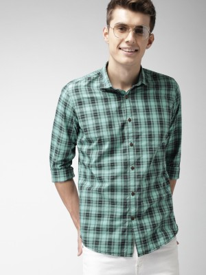 Mast & Harbour Men Checkered Casual Green, Black Shirt at flipkart