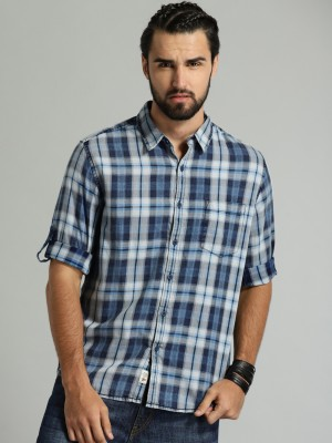 Roadster Men Checkered Casual Blue, Grey Shirt at flipkart