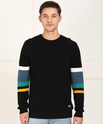 Levi's Striped Round Neck Casual Men's Black Sweater