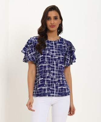 Oomph! Party Butterfly Sleeve Self Design Women Blue Top