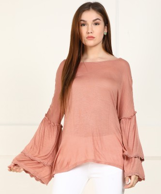 Vero Moda Casual Bell Sleeve Self Design Women