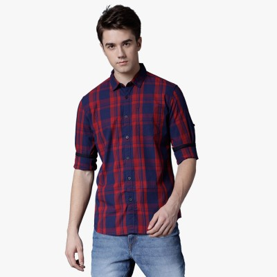 Highlander Men's Checkered Casual Dark Blue, Red Shirt