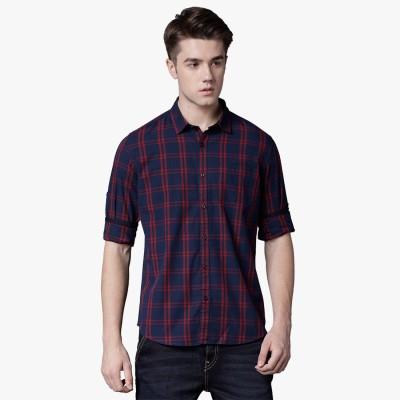 Highlander Men Checkered Casual Dark Blue, Red Shirt