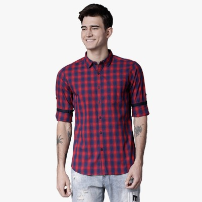 Highlander Men's Checkered Casual Red, Dark Blue Shirt