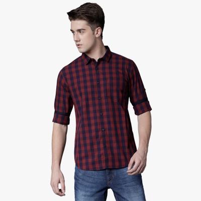 Highlander Men's Checkered Casual Dark Blue, Maroon Shirt