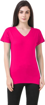 Clo Clu Solid Women V Neck Pink T Shirt