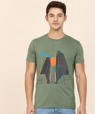 Wrath Color Block Men Round Neck Green, Black T-Shirt