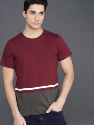 WROGN Color Block Men Round Neck Maroon, Grey T-Shirt at flipkart