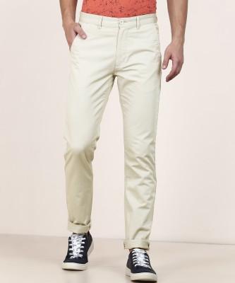 Peter England University Slim Fit Men Beige Trousers