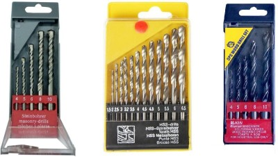 Inditools Combo of 3 drill bits wood masonry and HSS 13pc