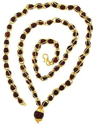 SHIV MART Shiv Shakti Kavach 5 Mukhi Rudraksha Mala With 5 mukhi rudraksh pendant Gold-plated Plated Metal Chain