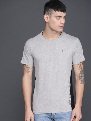 WROGN Color Block Men Round Neck Grey, Black T-Shirt at flipkart