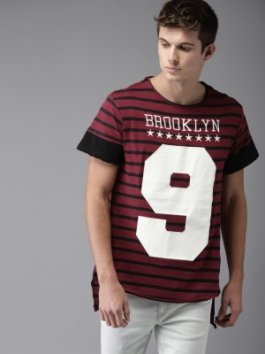 Moda Rapido Printed Men Round Neck Maroon, Black T-Shirt at flipkart