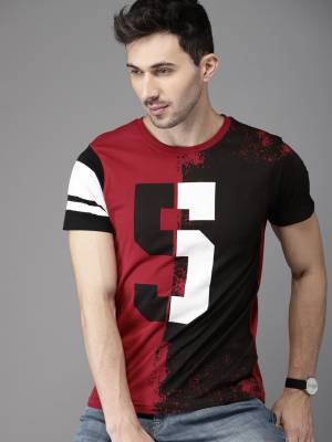 HERE&NOW Printed Men Round Neck Maroon, Black T-Shirt
