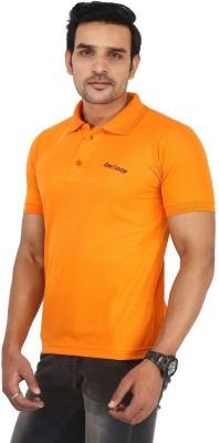 LeeRooy Solid Men Polo Neck Orange T-Shirt