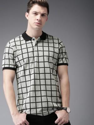 Moda Rapido Checkered Men Polo Neck Grey, Black T-Shirt