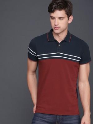 WROGN Color Block Men Polo Neck Maroon, Blue T-Shirt