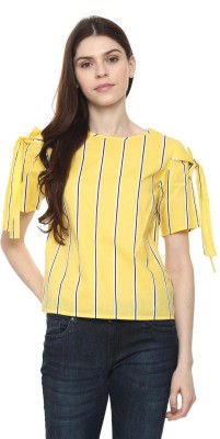 People Casual Short Sleeve Striped Women Yellow Top