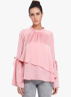 Vero Moda Casual Bell Sleeve Self Design Women Pink, Pink Top