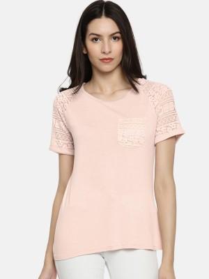 Vero Moda Casual Regular Sleeve Self Design Women Pink Top