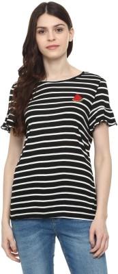 People Casual Short Sleeve Striped Women Black Top