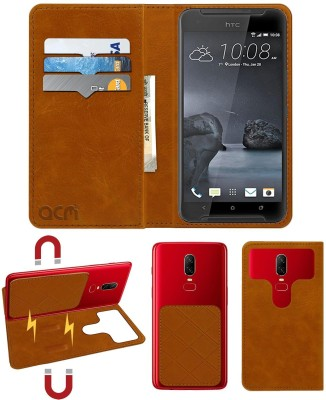 ACM Flip Cover for Htc One X9(Gold, Cases with Holder)