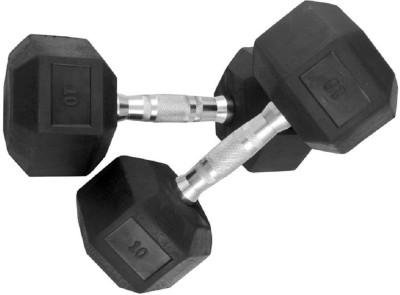 RJ Rubber Hexagonal Fixed Weight Dumbbell(10 kg)