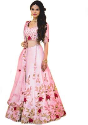 PMD Fashion Embroidered Semi Stitched Lehenga Choli(Pink)