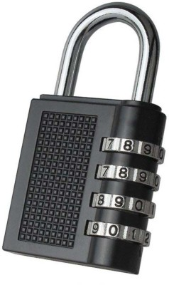 shop93 store 4 Dial Resettable Combination Pad Locks Safety Lock(Black)