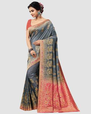 Patang International Woven Kanjivaram Poly Silk Saree