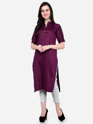 Divastri Women Solid Pathani Kurta(Purple)