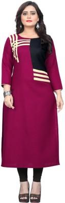 Textile Fab Festive & Party Self Design Women Kurti(Pink)
