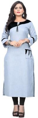 Textile Fab Festive & Party Self Design Women Kurti(Grey)