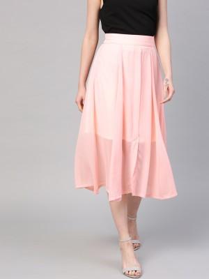 Sassafras Solid Women A line Pink Skirt