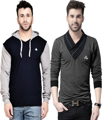 AD & AV Color Block Men Hooded Neck Multicolor T-Shirt(Pack of 2)