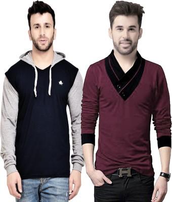 LEWEL Color Block Men Hooded Neck Multicolor T-Shirt