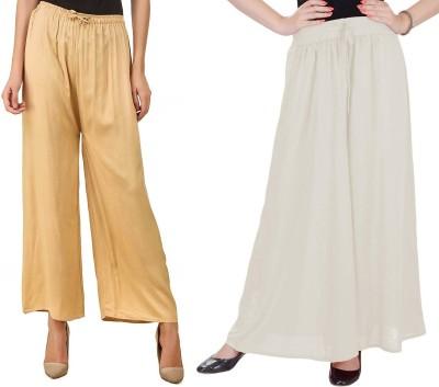 SriSaras Regular Fit, Relaxed Women White, Beige Trousers
