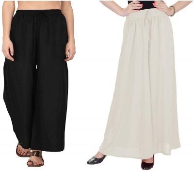 SriSaras Regular Fit, Relaxed Women White, Black Trousers