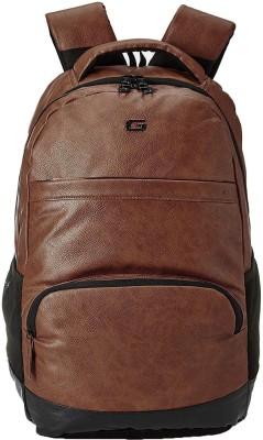 Gear VINTAGE2 ANTI THEFT FAUX LEATHER 28 L Laptop Backpack(Tan, Black)