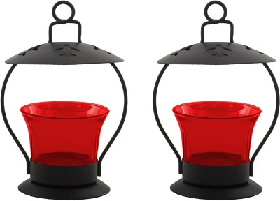 Heaven Decor Iron, Glass Tealight Holder Set(Red, Pack of 2) at flipkart