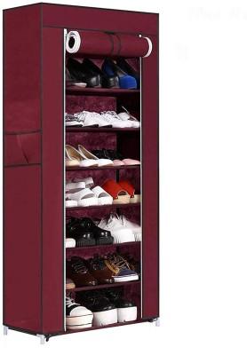 Ebee Metal Collapsible Shoe Stand(Maroon, 8 Shelves)