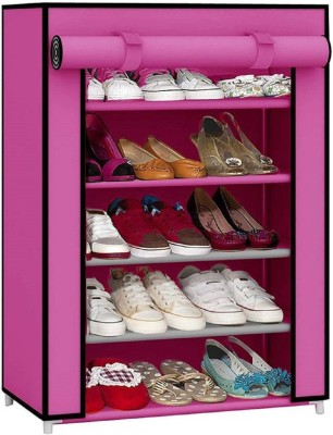CMerchants CABINET 5LAYER Metal Collapsible Shoe Stand(Pink, 5 Shelves)