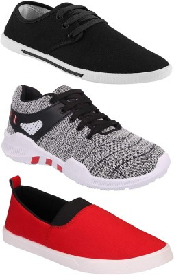 Chevit Combo Pack of 3 Casual & Sports Shoes (Loafers & Running Shoes) Sneakers For Men(Red, Black, Grey)