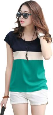 Belomoda Casual Half Sleeve Solid Women's Green Top