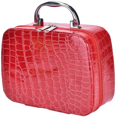 Zakheza Mini Portable Hanging Toiletry Cum Beauty Kit Organizer Bag Makeup, Jewellery Vanity Box Red