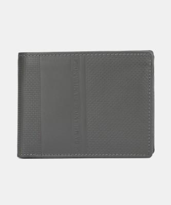 Da Milano Men Casual Grey Genuine Leather Wallet(5 Card Slots)