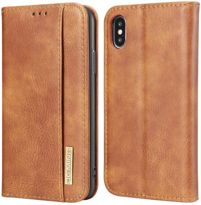 Dg Ming Flip Cover for Apple iPhone X(Brown, Dual Protection)