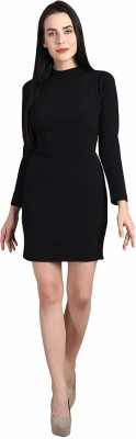 MIjaat Women Sheath Black Dress