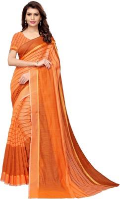 Redfish Printed Bollywood Poly Crepe Saree Orange Redfish Women's Sarees